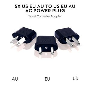 US EU to EU AU AC Power Plug Converter Adapter Adaptor USA to European Black Plastic Travel Converter Max 2200W Two Pins