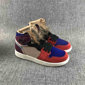 Good quality 1 High OG Aleali May Women basketball shoes 1s faux hair tongues Bordeaux Rush Red Blue outdoor sports fashion Sneakers