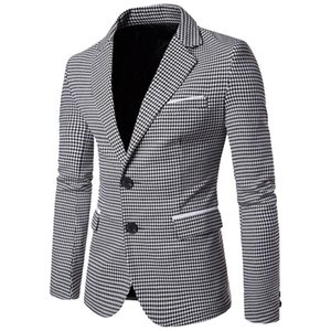 Nibesser Casual Plaid Plaid Stampa uomo Blazer moda manica lunga abito da sposa cappotto autunno bianco business sociale mens giacca blazer