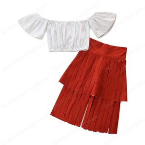 kids clothes girls outfits children off shoulder Tops+tassel skirts 2pcs sets 2021 summer fashion Boutique baby Clothing Sets