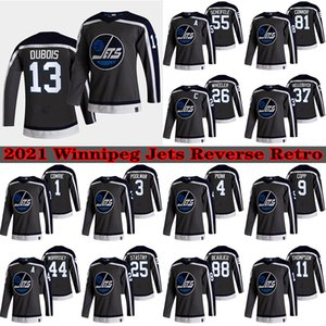 Winnipeg Jets 2021 Ters Retro Jersey 13 Pierre-Luc Dubois 26 Blake Wheeler 55 Mark Scheifele 29 Laine 37 Hellebuyck Hokey Formaları