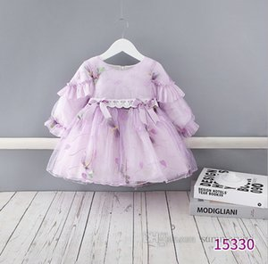 Baby girls gauze dragonfly embroidery dress toddler kids ribbow Bows lace tulle princess dresses children 1st birthday party clothing Q2470