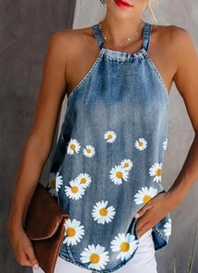 Womens Summer Daisy Tank Halter Neck Bandage Sexy Vest Long Camisole Sleeveless Sunflower Print Denim Women Blouse Tops T Shirts