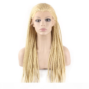 Braid Lace Wig Glueless Blonde Colored Long Heat Resistant Fiber Micro Braided Lace Front Cheap Synthetic Braiding Light Blonde Hair Wigs