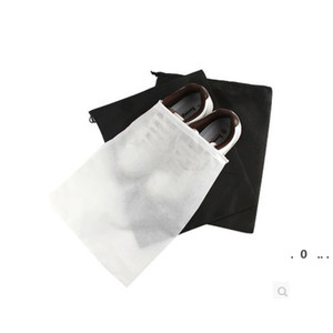 Portable Travel Storage Bag For Shoes Non-woven Drawstring Shoes Bags Clothes Underwear Pouch Organizer White Black EWF5249