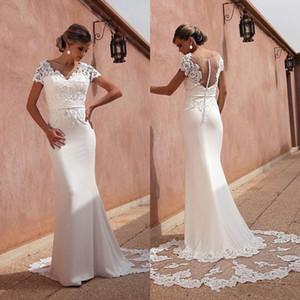 2021 Elegant Beach Wedding Dresses Mermaid V Neck Lace Applique Satin Bridal Gowns Sweep Train Backless Wedding Gowns