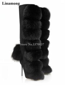 여성 매력적인 고품질 밍크 머리 장식 무릎 높은 스틸 레토 힐 부츠 지퍼 모피 공 디자인 하이힐 겨울 부츠 X0104