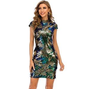 Vintage Elbiseler 2021 Moda Yeni kadın Gündelik Elbise O-Boyun Kısa Kollu Bayan Ve Kızın Sequins Elbiseler