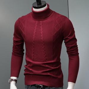 Turtelneck Sweater de invierno Ropa de hombre Moda Geométrico Geométrico Lana Gruesa Jersey