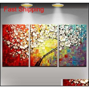 Stretched Frame Ready To Hang, 100%hand-painted Abstract Landscape Modern Blooming Flowers Tree Knife Oil Painting 3pcs s qylMVK bwkf