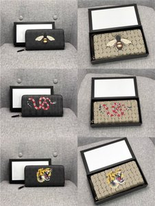 High quality men animal long Wallet Leather black snake Tiger bee Wallets Women Long Style Purse Wallet card Holders with gift box