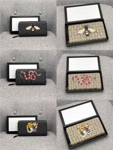 Hohe Qualität Männer Tier Lange Brieftasche Leder Schwarz Schlange Tiger Biene Brieftaschen Frauen Lange Stil Geldbörse Brieftasche Kartenhalter mit Geschenkbox
