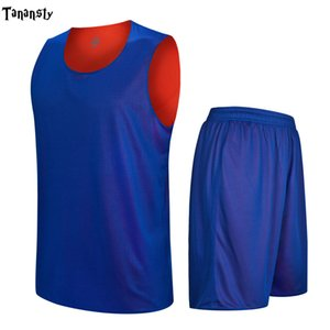 DIY reversible Basketball Jersey Men Adult Uniform new mens Double-sided plain blank Sports clothing College basketball sets DIY