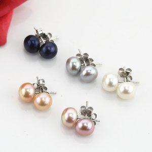 7-8mm Klassische Natürliche Süßwasserknopf Perle Ohrring Studs 925 Sterling Silber Für Frauen Mädchen Geschenk Schmuck