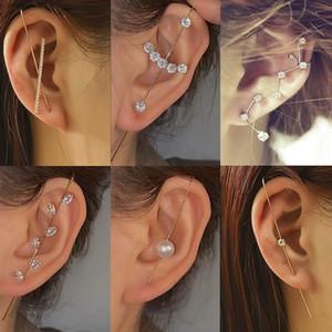 Boucles d'oreilles à crochets d'aiguille de l'oreille à l'oreille de la mode pour femmes d'oreilles surround oreillette diagonale goujon en cuivre boucles d'oreilles piercing zircon