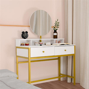 Bedroom Furniture Light Luxury Real Wood Dressing Simple Makeup Single Mirror Four Drawer White Table
