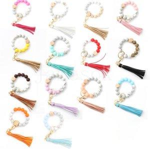 14 style Wood silica gel beaded bracelet keychain Loss prevention tassel key ring pendant pure multicolor optional DD565