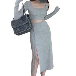 Two Piece Dress Set of 2-piece women with skirt, Korean fashion, 2-piece, short shirt + midi mesh sweater, Summer A7MB
