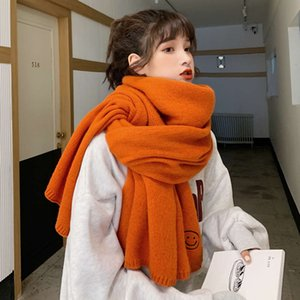 New autumn and winter thickened knitted scarf cute fashion student embroidered smiling face shawl neck girl