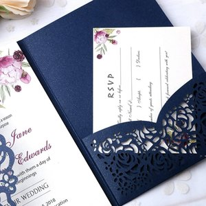 New Style 3 Folds Wedding Navy Blue Invitations Cards With Burgundy Ribbons For Wedding Bridal Shower Engagement Birthday OWD10258