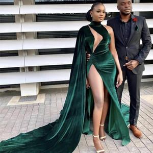 Dark Green Arabic Aso Ebi Plus Size Mermaid Evening Dresses High Split Prom Dresses Velvet Formal Dress Party Gowns Evening Wear Robes