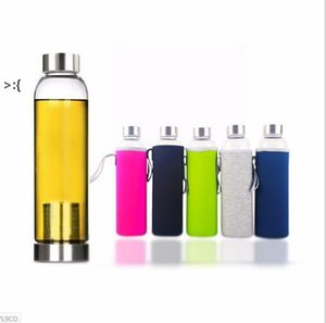 22oz Glass Water Bottle BPA Free High Temperature Resistant Glass Sport Water Bottle With Tea Filter Infuser Bottle Nylon Sleeve OWD10478