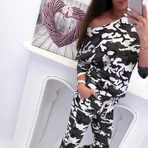 Tracksuit For Women Lounge Wear Pullover Top Autumn Casual Camouflage Leopard Print Elastic Waist womens suit two piece set