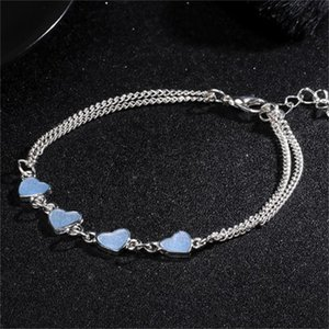 Luminous coração borla pé cadeia prata brilho no escuro anklet corrente ioga dançando braceletes de tornozelo braceletes 242 t2