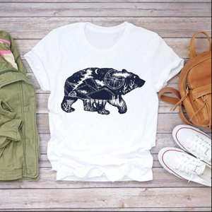 Women Short Sleeve Bear Adventure Cartoon Cute Print Clothes T shirts Top Womens T Shirt Ladies Graphic Female Tee T Shirt