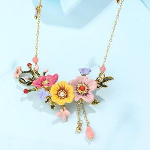 Зимний сад серии мода личности эмаль глазурь многоцветный пион цветок кисточкой кулон ожерелье женский новый релиз