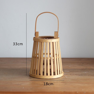 1Pc Vintage Wooden Weaving Hollowed Candle Holder Balcony Hanging Lantern Candlestick Home Decor