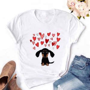 2021 spring summer new women's t-shirt short-sleeved casual dog love print clothes