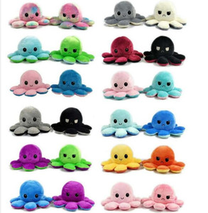 20cm Reversible Plush Toys Soft Flip Two-Sided Octopus Plush Toy Stuffed Doll Soft Simulation Octopus Cute Animal Doll Gift