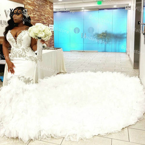 African Mermaid Wedding Dress 2021 Sweetheart Ruffle Royal Train Black Girls African Wedding Dress Beaded Crystal Bridal Gowns Plus Size