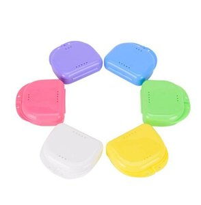 Brace Storage Boxes Perforated Tooth Storage Box Mouthguards Biteguards Box Colorful Dental Orthodontic Retainer Dentures Sport Guard WMQ100