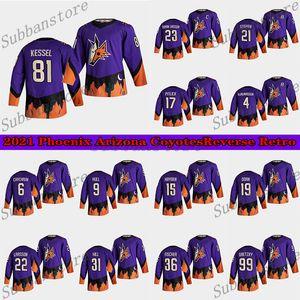 Phoenix Arizona Coyotes 2021 Retro Retro Jersey 81 Phil Kessel 23 Oliver Ekman-Larsson 4 Niklas Hjalmarsson (a) Jerseys Hockey