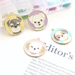 60pcs Cartoon Dogs Series Alloy Enamel Charms Oil Drop Lovely Dog Tag Pendants Floating Earrings Jewelry DIY Accessories