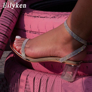 Eilyken claro perspex cristal sandálias de salto quadrado verão fivela fivela cinta peep toe pvc transparente strass mulheres sapatos nupcial s4zs #