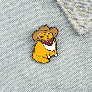 Custom Funny Animal Hat Brooches Shirt Lapel Bag Cowboy Cats Enamel Pin Cute Badge Cartoon Kitten Jewelry Gift for Friends