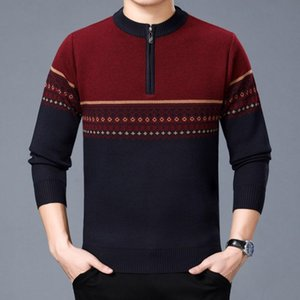 2021Autumn and Winter New Men's Nine Options Three-color Stitching Pullover Half-zip Round Neck Warm Sweater Men's Sweater M-3XL