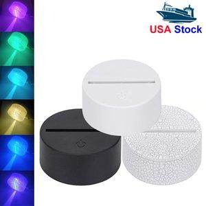 7 Colors Touch Lamp Base For 3D Night Light LED Light Base White Black Led Lamp Holder Portalampada Hot Sale