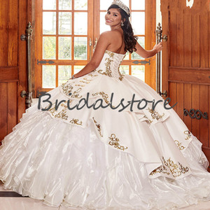Pure White Charro Quinceanera Dresses Fluffy Organza Ruffles Masquerade Prom Dress 2021 Ball Gown Pageant Corset Sweet 15 Dress For 16 Girls