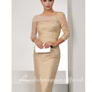 2021 New Elegant Champagne of the Bride Sheath 3 4 Sleeves Appliques Lace Plus Size Groom Short Mother Es for Wedding Wprx