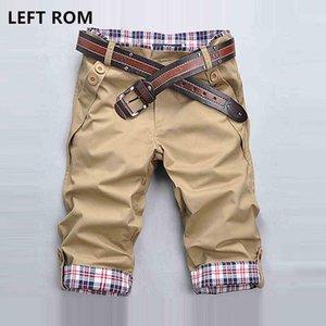 Left ROM 2021 Homem Casual Color Stitching Stitching Beach Shorts Moda Algodão Magro Alta Qualidade Negócios Juventude Cinco Ponto Shorts