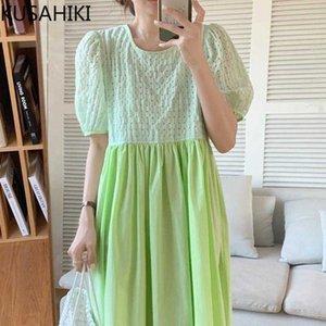 KUSAHIKI Sweet Contrast Color Woman Dress Back Buttons High Waist A-line Vestidos Femme Summer Puff Sleeve Dresses 6J469 210602