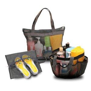 Big Size Mesh Handbag with 8 Side Pockets Beach Bath Swim Bag Shoes Slippers Storage Net Makeup Cosmetic Bags Washing Laundry Tote G32QHHJ