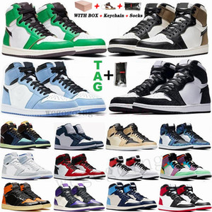 Air Retro 1 High Travis Scotts Baixa Bloodline quebrado encosto 3.0 Mens tênis de basquete 1s Destemido UNC Bred Jumpman Sports Sneakers Com Box 36-47