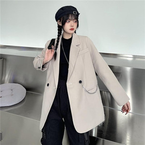 Harajuku Long sleeve Oversize Chain Women's spring jacket 2021 Solid double-breasted Pocket Female coat Outerwear Tops Blazers