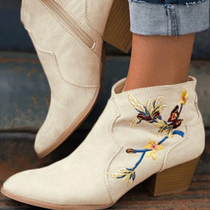 MONERFFI Botas de tobillo Mujeres Botas cortas Bordado Bordado Patrón de flores Zipper Mujeres Sólido Color Chunky Heel Bota Feminina N2RF #