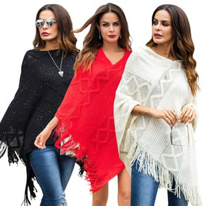 Autumn new Pullover tassel knitted Cape solid color geometric loose Sequin sweater